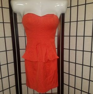 Orange Bebe Peplum Dress Size 4